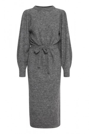 IHJORDAN KNIT DRESS DARK GREY