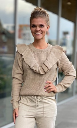 VIOA KNIT FRILL TOP TAUPE