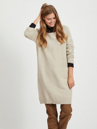 VIRIL KNIT DRESS NATURAL MELANGE