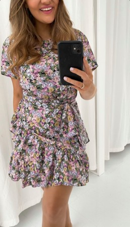 AGNES DRESS LIGHT PURPLE FLOWERS