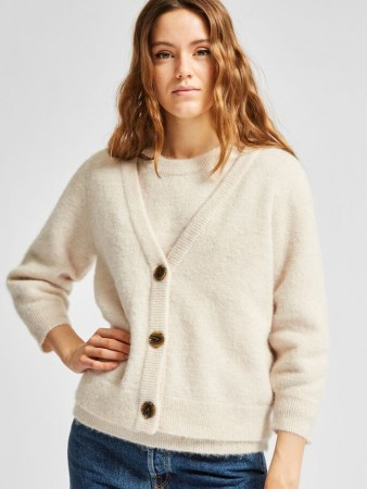SLFSIA CARDIGAN 3/4 BIRCH