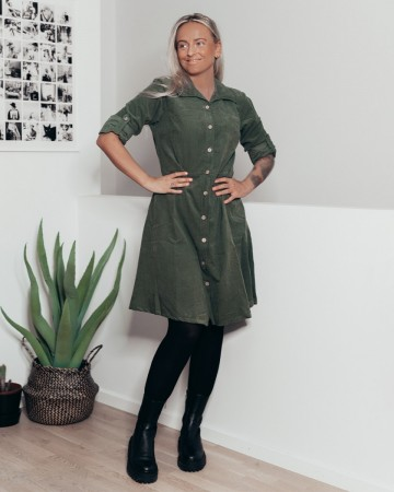 BITTEN BABY CORD DRESS ARMY GREEN