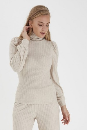 SALMA ROLL NECK TOP OATMEAL