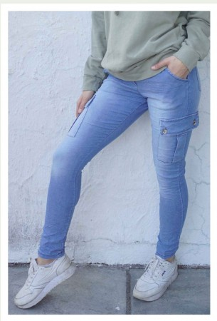 TINDRA CARGO JEANS LIGHT BLUE